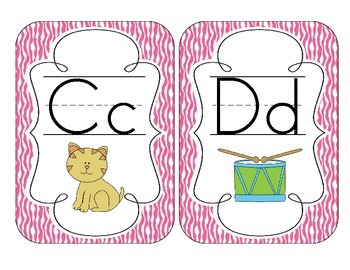 Bright Pink Zebra Print Alphabet Cards