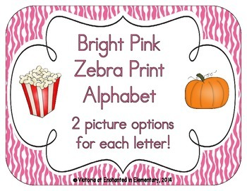 Bright Pink Zebra Print Alphabet Cards
