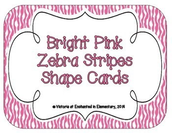 Bright Pink Zebra Print Shape Cards