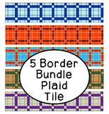 Bright Plaid Tile Bulletin Board Border Printable Bundle Pack of 5