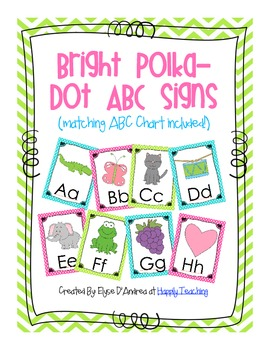 Bright Polka-Dot ABC Signs (ABC Chart Included!)