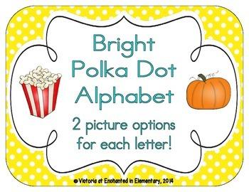 Bright Polka Dot Alphabet Cards
