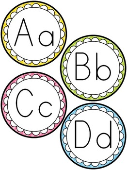 Bright Polka Dot Alphabet Posters and Word Wall Cards