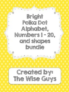 Bright Polka Dot Alphabet, numbers 1-20, shape posters