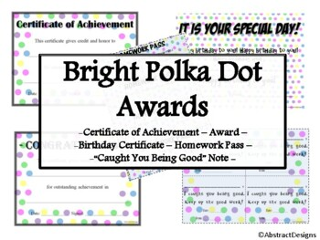 Bright Polka Dot Awards Set