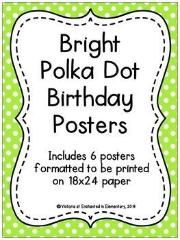 Bright Polka Dot Birthday Posters