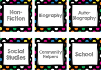 Bright Polka Dot Book Bin Labels