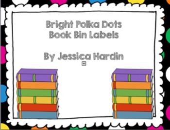 Bright Polka Dot Book Bin Labels