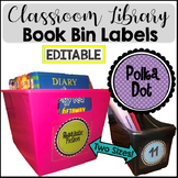 Book Bin Classroom Labels for Classroom Library Polka Dot