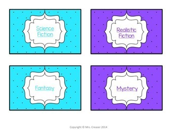 Bright Polka-Dot Book Genre posters and library labels