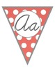 Bright Polka Dot CURSIVE Alphabet Pennants