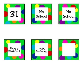 Bright Polka Dot Calendar Numbers