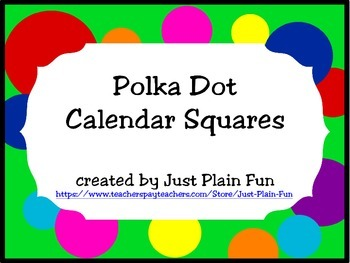 Bright Polka Dot Calendar Numbers