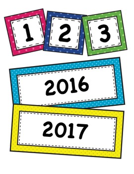 Bright Polka Dot Calendar Set Classroom Decor