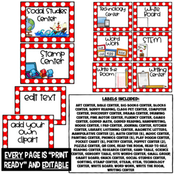 Editable Center Labels ~ Red and White Polka Dot