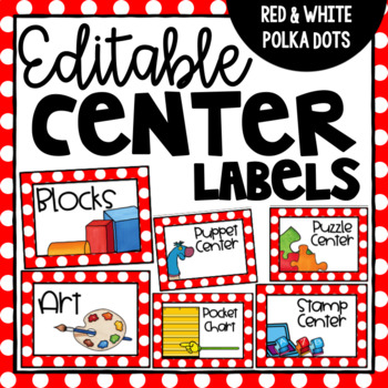 Editable Center Labels - Red and White Polka Dot