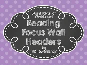 Bright Polka Dot Chalkboard Reading Focus Wall Headers