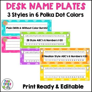 Bright Polka Dot Classroom Decor | Editable