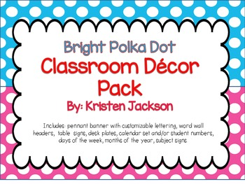 Bright Polka Dot Classroom Decration and Poster Set