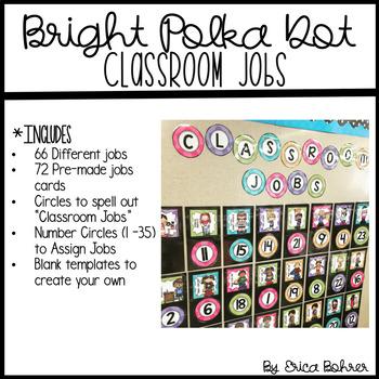 Classroom Jobs: Bright Polka Dot