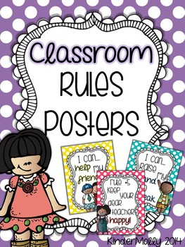 Bright Polka Dot Classroom Rules Posters - includes Whole Brain rules!