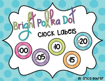 Bright Polka Dot Clock Labels {FREE}