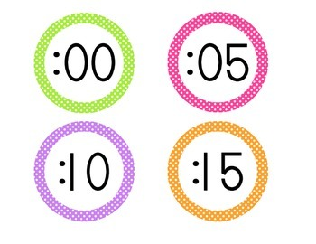 Bright Polka Dot Clock Numbers