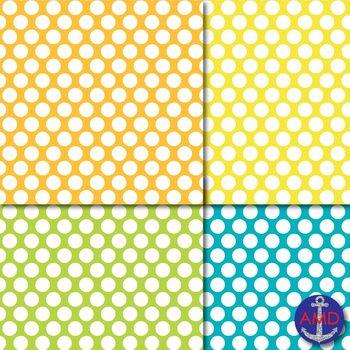 Bright Polka Dot Digital Papers