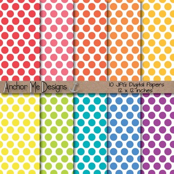 Bright Polka Dot Digital Papers on a White Background