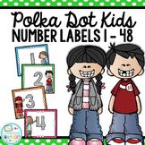 Polka Dot Kids Number Labels: Editable, Classroom Decor, Organizational Tool