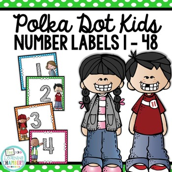 Polka Dot Kids Number Labels: Editable, Classroom Decor, Organizational Tool
