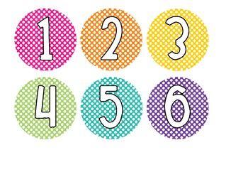 Bright Polka Dot Library Bin Number Circles
