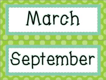 Bright Polka Dot Months FREE