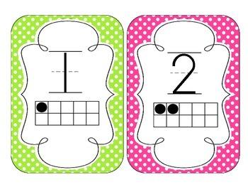Bright Polka Dot Number Cards 1-20