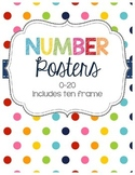 Bright Polka Dot Number Posters 0-20 (ten frame)