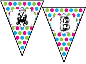 Bright Polka Dot Pennant Banner