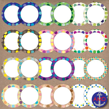 Bright Polka Dot Clip Art Post-its, Labels and Notecards