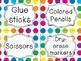 Bright Polka Dot School Supply Labels