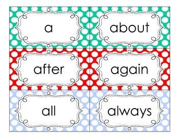 Bright Polka Dot Sight Word Cards