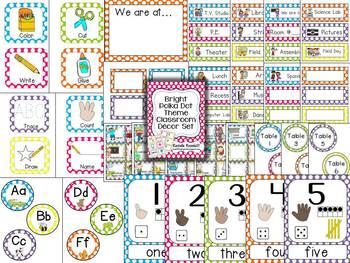Bright Polka Dot Theme Classroom Decor Set