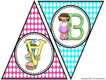 Bright Polka Dot Uppercase Alphabet Penant Banner