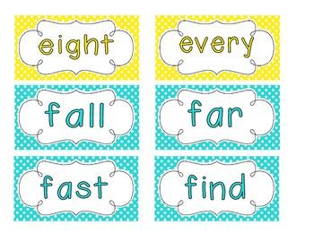 Bright Polka Dot Word Wall Cards