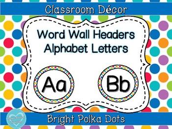 Bright Polka Dot Word Wall Header FREE
