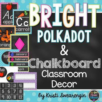 Bright Polka Dot and Chalkboard Classroom Decor