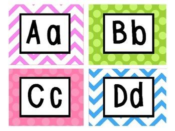 Bright Polka Dot and Chevron Classroom Labels, Alphabet and Decor - EDITABLE