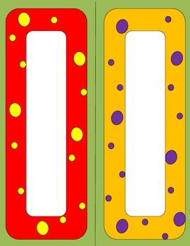 Bright Polka Dot name plates