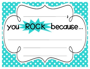 """Bright Polka Dot """"you ROCK because..."""" Student Recognition Signs"""
