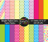 Bright Polka Dots Digital Papers {Commercial Use Digital G