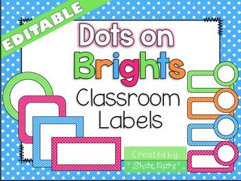 Bright Polka Dots {EDITABLE} Classroom Labels Blue Pink Li