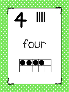 Bright Polka Dots Number Posters {Math} Ten Frames {Number Concept} Anchor